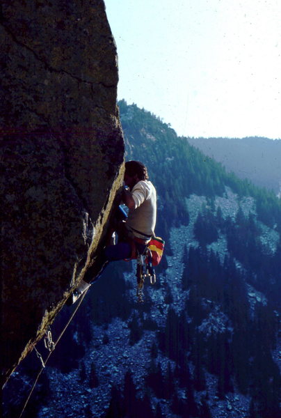 Bob Horan on the 3rd ascent of Practice Climb 101's 2nd pitch.