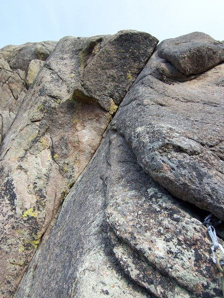 Here is a shot of the crux pitch on P2....