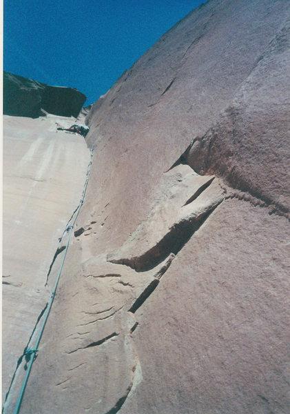 Rock Climbing Photo: Leading the crux pitch, somewhere near the pod, Ap...