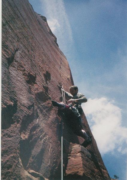 Rock Climbing Photo: Killer 12a splitter above the Slot Pitch.