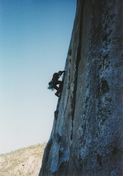 Mike approaching the Monster Offwidth. May 2004
