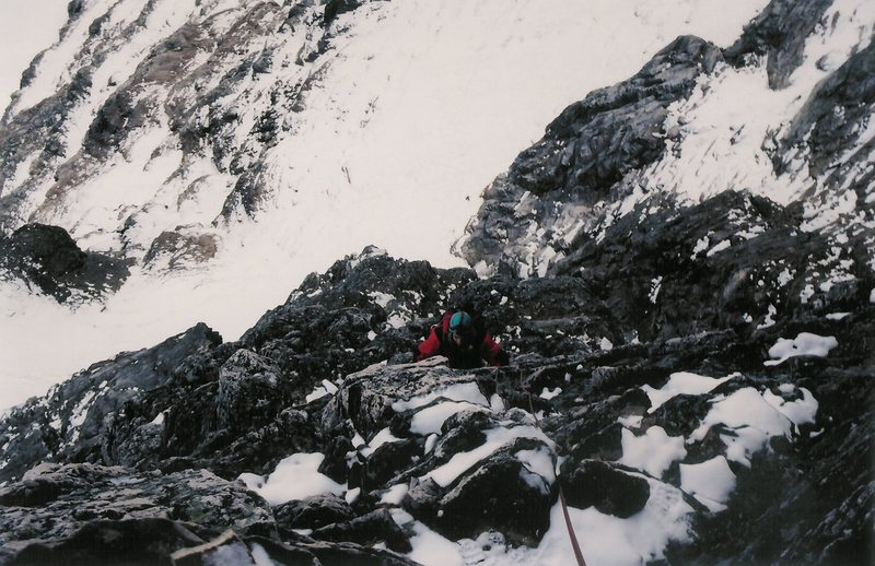 Nearing the top of the rock section in deteriorating conditions.