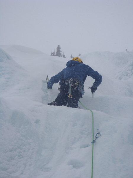 Rock Climbing Photo: Tom leading P1.