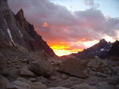 Rock Climbing Photo: Sunrise over our bivy cave- Cerro Torre Glacier