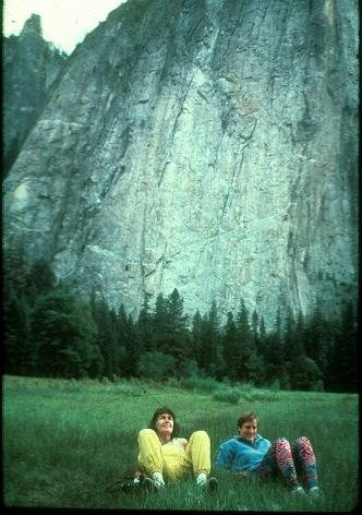 Wanda Rutkiewicz and Denise: El Cap lie-back, Yosemite.  Background is Middle Cathedral Pillar of Frenzy.