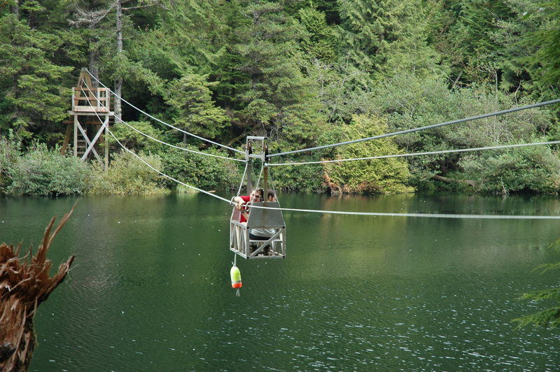 Rock Climbing Photo: Crossing a stream mouth on a cable car on the West...
