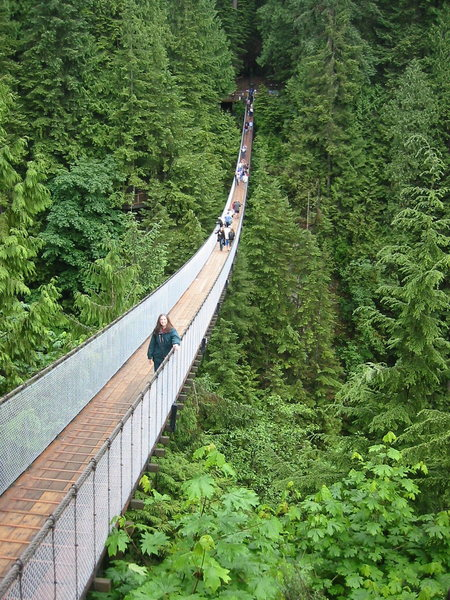 The Capilano Suspension bridge in North Vancouver.  A nice rest-day activity, but not cheap.  The Lynn Creek suspension bridge is a nice free alternative.<br> <br> The greenery hides it in this picture, but it's quite a deep canyon.