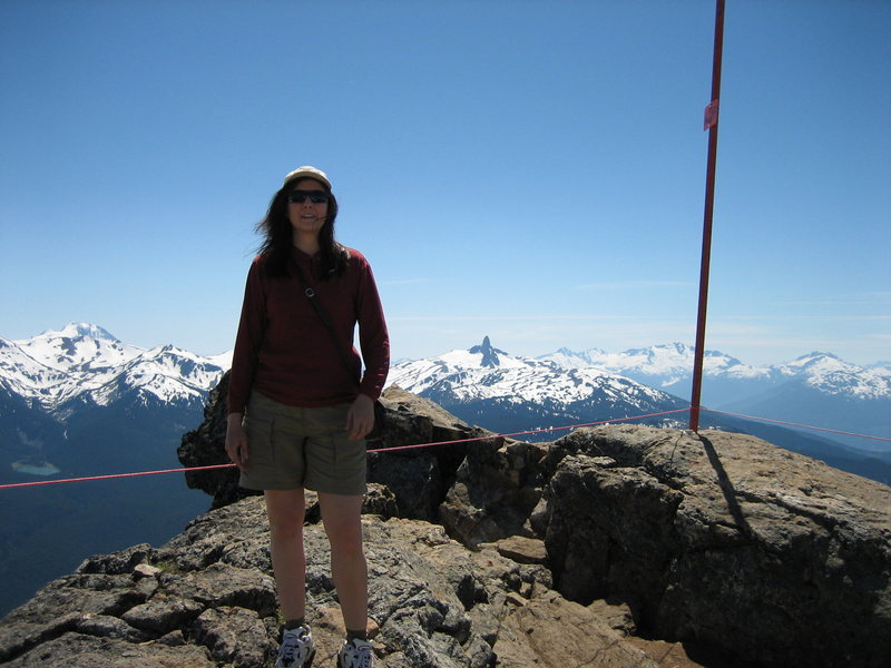 Joanne at the top of Whistler in the spring.  The Black Tusk is visible in the background.