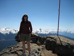 Rock Climbing Photo: Joanne at the top of Whistler in the spring.  The ...