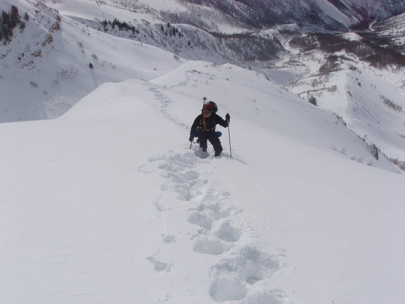 Ascending Everest Ridge.