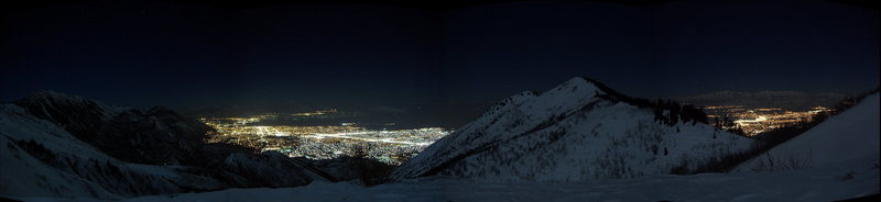 Night time view of Utah Valley from Everest Ridge.