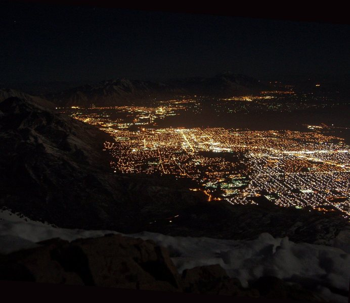 View of Orem/Provo under a full moon from the summit of Everest Ridge.