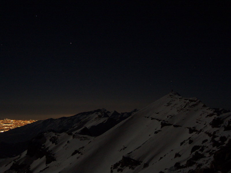 Rock Climbing Photo: Looking across the face of Timp under a full moon ...