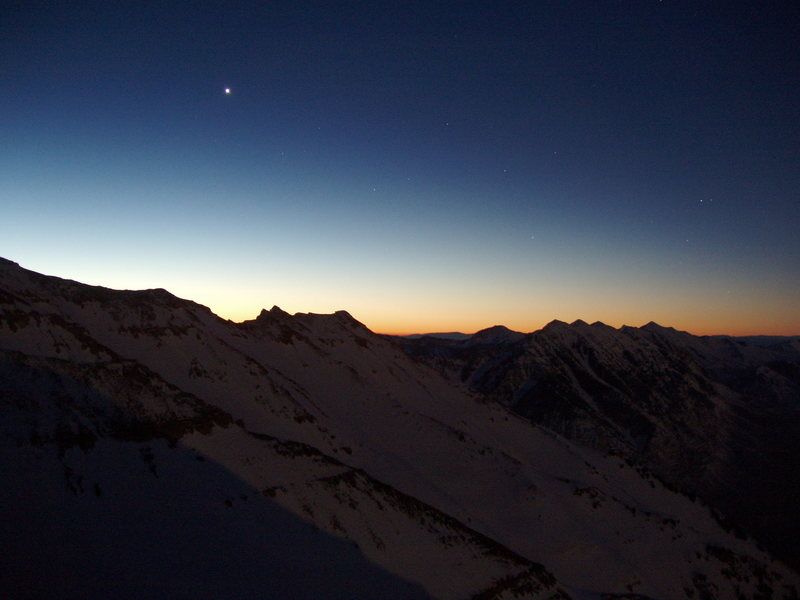 Dawn patrol in the Wasatch as seen from Everest Ridge.