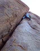 Rock Climbing Photo: Ample footholds out right of the crack ease the gr...
