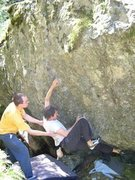 Rock Climbing Photo: Scot on an unamed problem on the backside of the S...