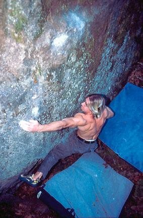 Rock Climbing Photo: Nate working a hard problem on the Deliverance Bou...