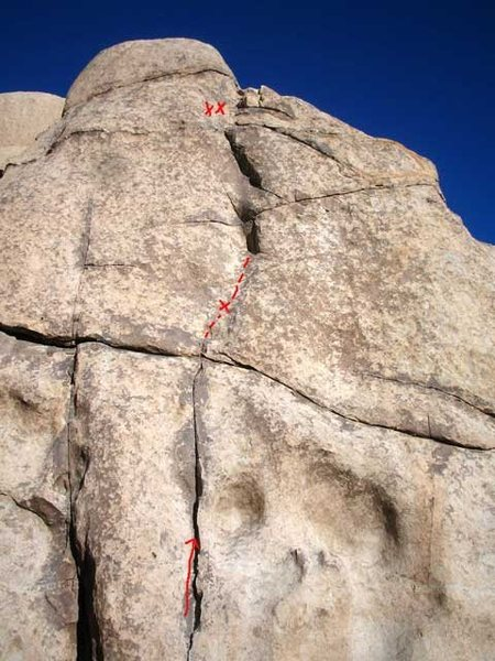 Black President. <br> <br> The spicy downclimb prompted the addition of a two bolt anchor at the top. 120 ft. rappel.