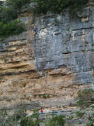 Scott Chapman on No Guts No Glory, South Rim Wall, Camp Eagle, TX.