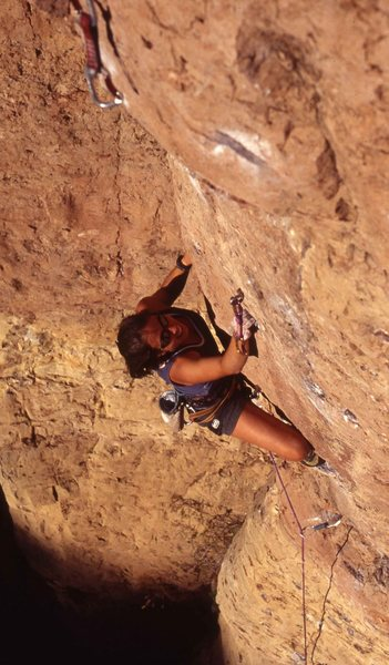 Rock Climbing Photo: Katy S cruiswing the top on the send.