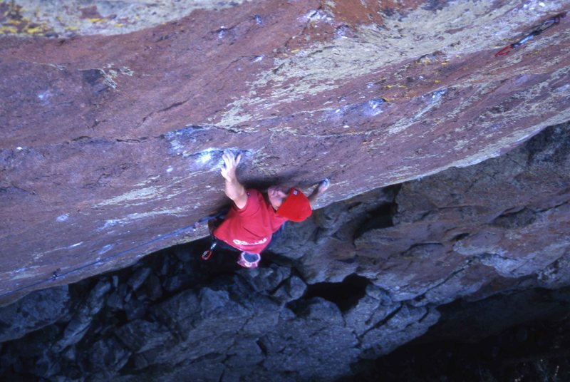 Rock Climbing Photo: Nathan Bancroft on the second crux of Event Horizo...