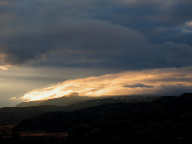 Rock Climbing Photo: Backlit storm clouds, Joshua Tree NP