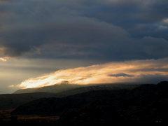 Rock Climbing Photo: Backlit storm clouds, Joshua Tree NP