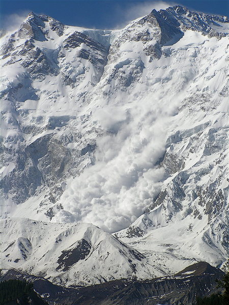 Rock Climbing Photo: Avalanche coming down the Raikot Face of Nanga Par...