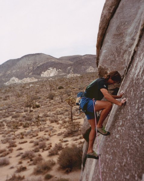 Me (1992), just below the bolt. Pretty thin and steep, but great rock quality.