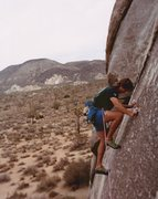 Rock Climbing Photo: Me (1992), just below the bolt. Pretty thin and st...