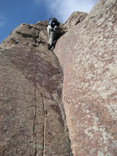 Rock Climbing Photo: Gabe on the killer corner. What a scramble!!