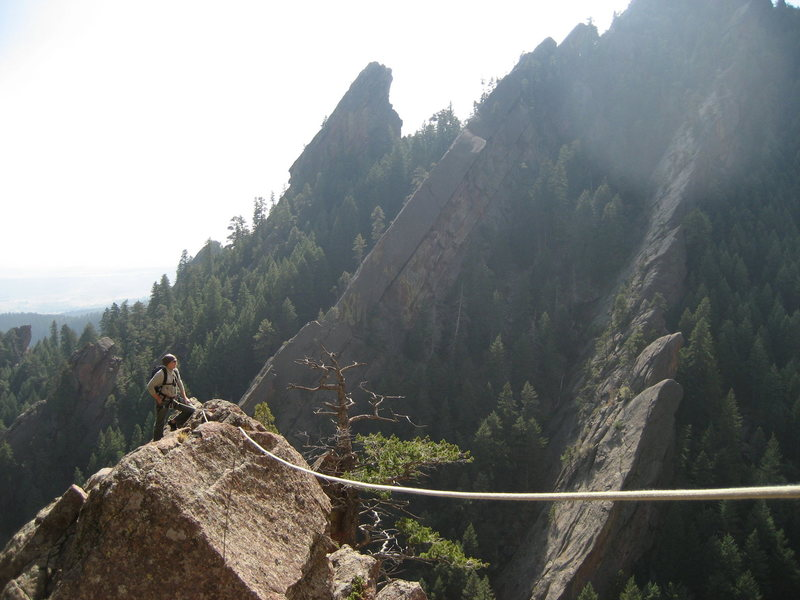 We got a little off route and decided to rope up for a bit, glad we brought the rope......even though it only protected me for one 5.6/7 move to get back on route. Gabe enjoying the view.
