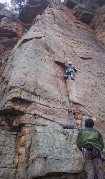 Rock Climbing Photo: protecting the lower crux