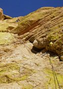 Rock Climbing Photo: Me out near the midpoint anchors on the second pit...