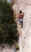 Rock Climbing Photo: Early lead of Barnburner Crack. Before gyms,powerb...
