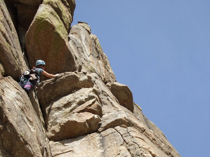 At the juggy, overhanging traverse.<br> <br> January 2007