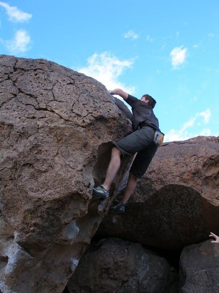 Rock Climbing Photo: The 2nd last move, and then over the top.