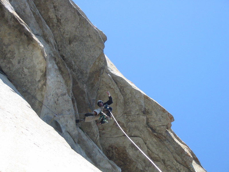Rock Climbing Photo: Aiding the roof, about to gain the headwall. This ...