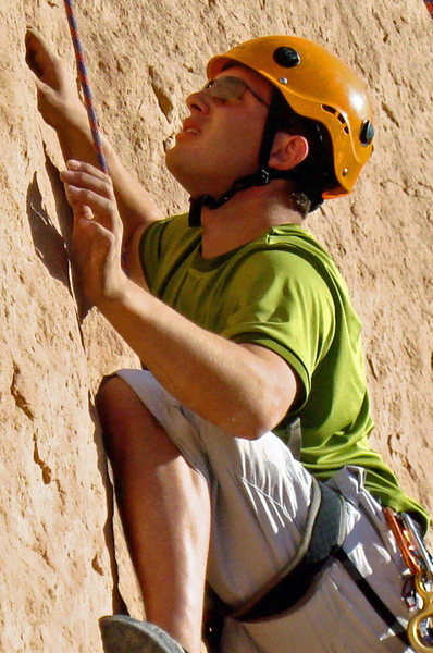Great climb!! Finger crimps, and tough moves, about 5.12-, awesome!