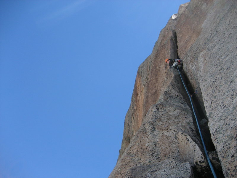 Rock Climbing Photo: The tough squeeze chimney we had to overcome on th...