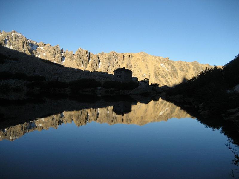 Rock Climbing Photo: Refugio Emilio Frey across the water.