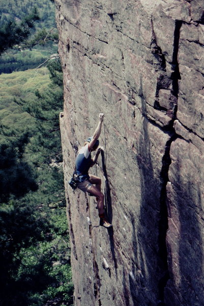 Rich Bechler on 1st or 2nd lead ? of Flakes Route. Photo: Bob Horan Collection.