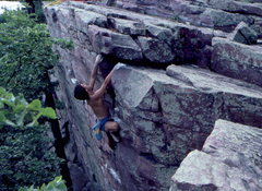 Rock Climbing Photo: BH topping in out in Gill's footstep on Somtimes C...