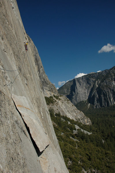 Chris Vultaggio on lower pitches of the Nose.<br> <br> Photo by Camillo Pavone