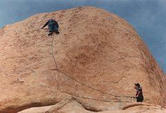 Rock Climbing Photo: EBGBs (circa 1983). Just passing the third bolt, w...