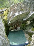 Rock Climbing Photo: The thin starting flake