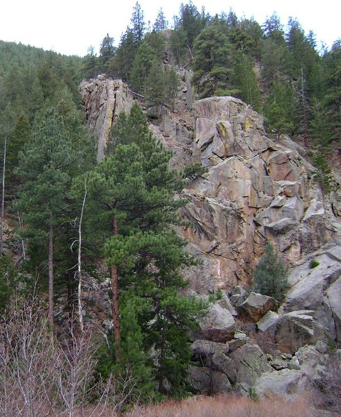 Continuity Crag as seen from the pullout.  It's the thin slice of rock on the left.