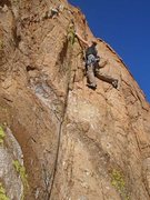 Rock Climbing Photo: Susan on the awkward 5.9 of our 3rd pitch.  (4th o...