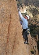 Rock Climbing Photo: Greg out of the wide and on the final face moves o...