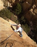 Rock Climbing Photo: Slabby moves before the anchor on our pitch 2  (3 ...